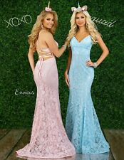 ENVIOUS COUTURE GLITTER LACE BACKLESS PROM EVENING GOWN IN PINK SIZE 6 BNWT