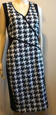 DKNY  Tweed Dress BLACK COLORBLOCK STRETCH CAREER COCKTAIL  Size 8 NWT $389