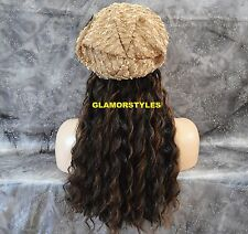 """18"""" BROWN MIX FLIP IN SECRET CLEAR WIRE HAIR PIECE EXTENSIONS NO CLIP ON/IN NEW"""
