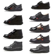 Kickers Kick Hi & Lo Core Kids Leather Back to School Ankle Boots Patent Black