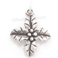 HOLLY Charm Christmas Holly LEAF Pendant Sterling Silver 3D 925 .925