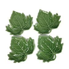 4 Jade Leaf Shaped Salad Dessert Plates Green Ceramic Cookin the American Way