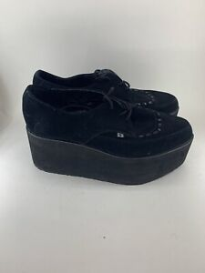 T.U.K. A8666 Tuk Ladies Shoes Stacked Black Suede Pointed Creepers High EUC