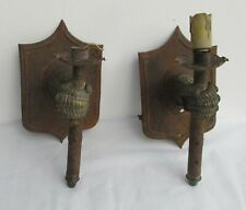 2 VINTAGE UNIQUE RARE SCONCES, MEDIEVAL ARMOUR GLOVE HANDS HOLDING CANDLE LIGHT