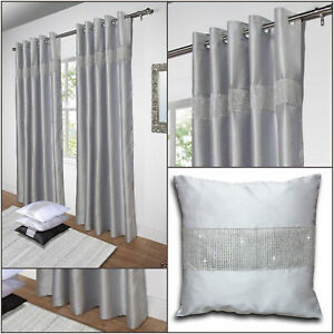 Silver Grey Faux Silk Diamante Glitz Sparkle Lined Eyelet Ring Top Curtains Pair