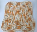 """Vintage 1960's Hand Made  Square Orange Embroidery Panel 12"""" x 12"""" C1"""