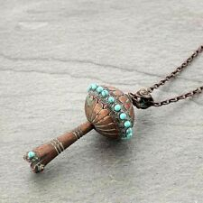 Southwest Western Large Copper Patina 3D Squash Blossom Long Necklace Turquoise
