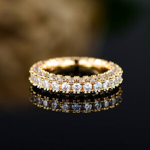 Sevil 18K Yellow Gold Plated Cubic Zirconia Eternity Band Cocktail Ring CZ