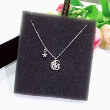 925 Sterling Silver Star and Crescent Fashion Necklace