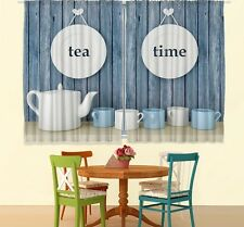 Tea Time Kitchen CURTAIN PANEL SET Blue White Cups Pot Teatime Cafe Window Decor