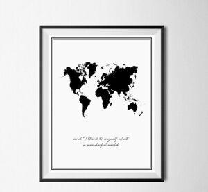 World Map Art Poster Print. Great Gift/Home Decor Minimalist