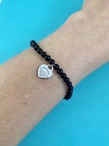 """Tiffany & Co Sterling Silver & Black Onyx Mini Heart Bead Bracelet 7.25"""" Retired"""
