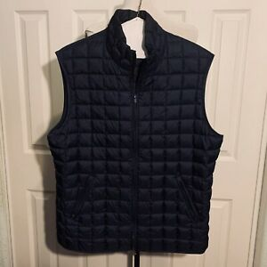 Brooks Brothers Down Puffer Vest Navy Blue Quilted Men Casual L