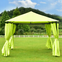 10'x10' Gazebo Canopy Shelter Patio Party Tent Awning 4 Side Walls Bright Green