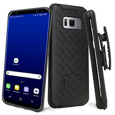 FOR SAMSUNG GALAXY S8+ PLUS G955 BLACK REAR V2 CASE SLIM COVER+BELT CLIP HOLSTER