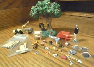 1/48 Dollhouse Miniature Wheelbarrow Tree Food Animal People Fireman Kit Lot