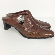 Brighton Twain Brown Leather Slip On Mules Heels Shoes Womens Size 7.5M