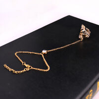 Women Slave Chain Leaf Finger Ring Bangle Hand Harness Bracelet Jewelry Gold