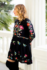 NWT ZARA 100% GENUINE BLACK DRESS EMBROIDERED FLORAL XS/24 BLOGGERS  RED TUNIC