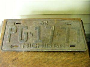 Antique 1952 Michigan License Plate