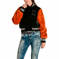 DIESEL L Mila 900 Womens Bomber Jacket Baseball Versity Winter Outwear Wool Coat