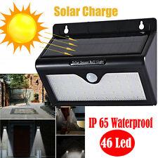 46 SMD LED Solar Powered Sensor Light Security Flood Motion Outdoor Garden Lamp