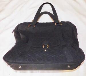 Retired Vera Bradley Black Diaper Bag with Zebra Print Interior & Changing Pad
