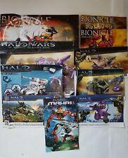 4 Lego bionicle and 5 Halo Mega Block instruments booklets bundle .