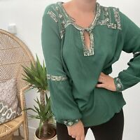 Monsoon Forest Green Embellished Boho Hippy Cheesecloth Blouse Sz 12 14 16 18 20