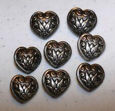 """1"""" & 3/4"""" (8) Vintage METAL Heart SHANK BUTTONS for German Dirndl Dress Jacket"""