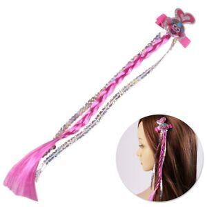 TROLLS WORLD TOUR BRAID CLIP Pink Kids Hair Extension Plait Summer Accessory