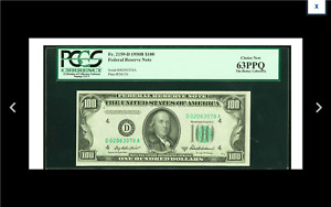 LOW SERIAL CLEVELAND Fr. 2159-D $100 1950B PCGS Choice New 63PPQ