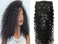 Long Kinky Curly100% Remy Brazilian Clip In Human Hair Extensions 8Pcs/160G