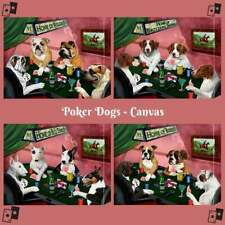 Home of Dogs Cats Pets Playing Poker Canvas Print Wall Art Home Decor