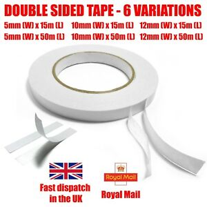 Double Sided Tape Strong Clear Sticky Adhesive DIY Craft Gift Wrap 5mm 10mm 12mm