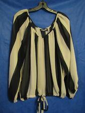 BASICALLY ME Black/Beige Stripe CHIFFON DRAWSTRING BUBBLE HEM TOP BLOUSE sz S/M