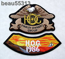 HARLEY OWNERS GROUP HOG H.O.G. 1986  PATCH NOTCHED WITH 4 TALON EAGLE PATCH