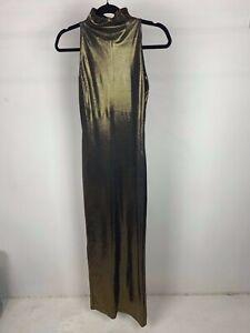 True Vintage Swet by Wet 70's Gold Lame High Neck Maxi Length Pencil Dress UK XS