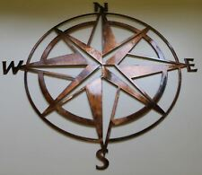 "Nautical COMPASS ROSE ""mini"" WALL ART DECOR copper/bronze plated 13"""