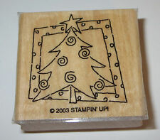 Christmas Tree Stampin' Up! Rubber Stamp Wood Mounted DIY Cards Star GUC