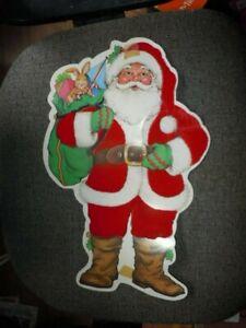 "VINTAGE DIE CUT CARDBOARD SANTA FLOCKED ON ONE SIDE 13"" CHRISTMAS DECOR"