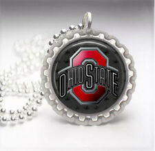 Ohio State Buckeyes Silver Bottle Cap Pendant Necklace