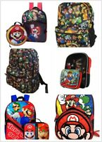 """Super Mario Large 16"""" School Backpack Lunch Box Book Bag - 2 Piece Set"""
