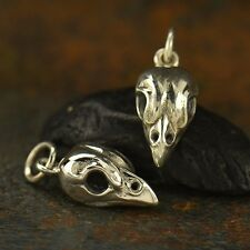 1 pc ~ Sterling Silver Sparrow Bird Skull Charm