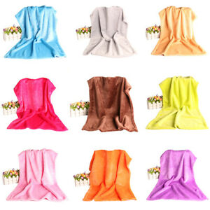 Super Soft Solid Warm Micro Plush Fleece Blanket Throw Rug Sofa Bedding Home uk
