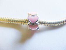 Silver Plated Pink Heart Charm Bead for Charm Bracelets- 8mm x 5mm