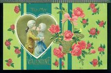 TO MY VALENTINE Kissing Colonial Couple Golden Basket of Roses Vintage Postcard