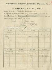 Sottoscrizione al Prestito Consolidato - Credito Italiano Agenzia di Napoli 1920