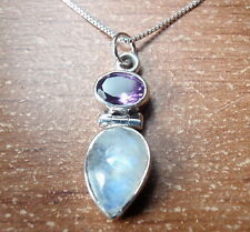 Faceted Amethyst and Moonstone Teardrop 925 Sterling Silver Pendant