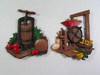 Set of 2 Homco Corn Hopper Apple Cider Press Metal Plaques Wall Sculptures Decor
